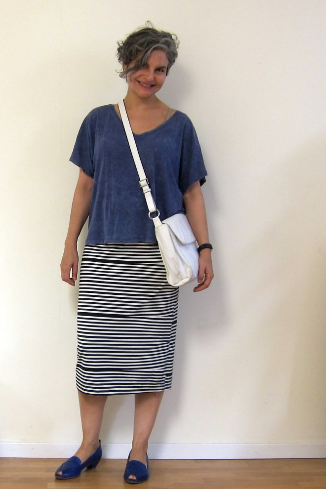 Blue top: thrifted, Ayelet Wiezman skirt: thrifted, bag: Cromia thrifted, Shoes: CoupleOf